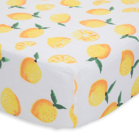 Little Unicorn Lightweight Breathable Cotton Muslin Fitted Crib Sheet lemon yellow