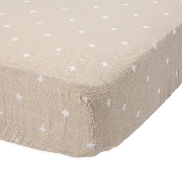 Little Unicorn Fitted Crib Sheet Lightweight Breathable Cotton Muslin taupe cross beige