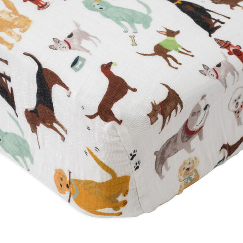 Little Unicorn Woof Cotton Muslin Fitted Crib Sheet Bedding dogs different breeds