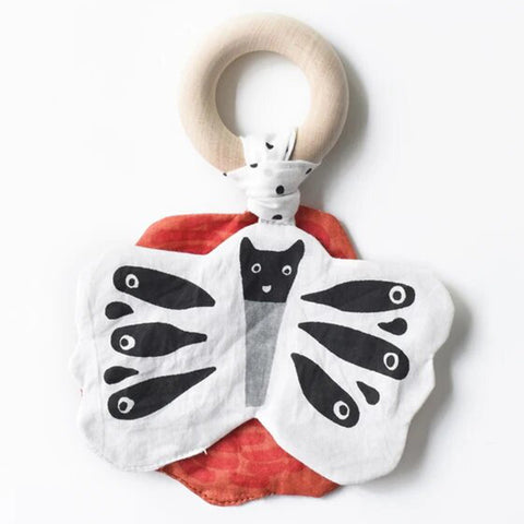 Wee Gallery Butterfly Crinkle Teether Infant Baby Toy black white red