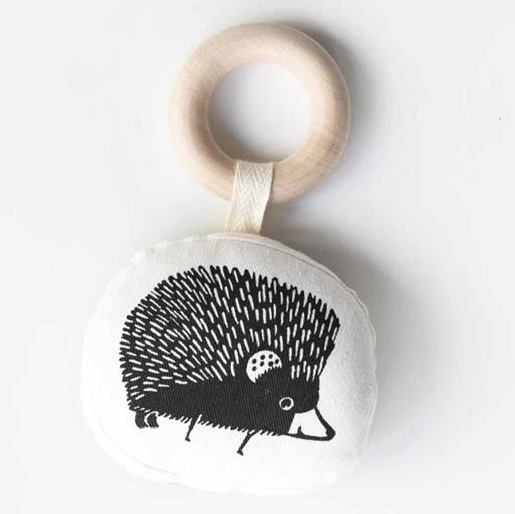 Wee Gallery Hedgehog Organic Teether Infant Baby Soothing Toy black white