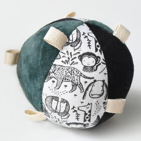 Wee Gallery Wild Organic Taggy Ball with Rattle Infant Baby Toy
