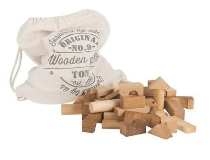 Wooden Story Children's Wooden Building Blocks in a Sack natural