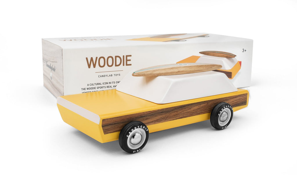 Candylab Toys Solid Beech Wood Woodie Car with surfboard for Kids Play original yellow wood white