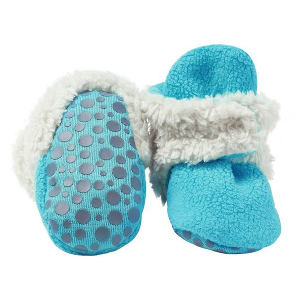 Zutano Cozie Fleece Fur-Lined Baby Booties with Grippers plush pool blue
