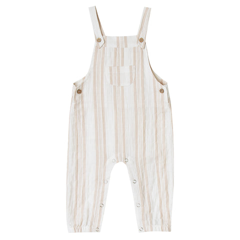 Rylee + Cru 100% Cotton Yarn Infant Baby Adjustable Overall Pants sand stripe beige