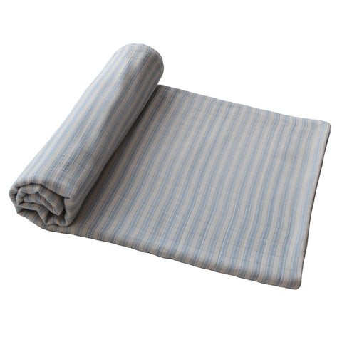 Mushie Blue Stripe Organic Cotton Nursery Swaddling Blanket