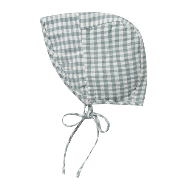 Rylee + Cru Brimmed Bonnet Infant Baby Sun Protection Hat Accessory gingham checkered green