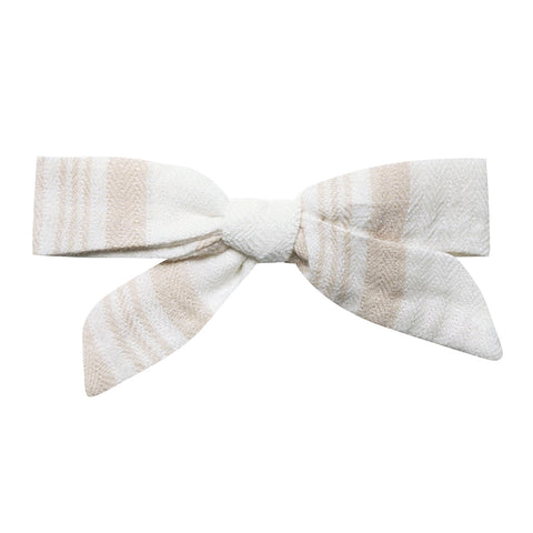 Rylee + Cru 100% Cotton Crepe Infant Baby Bow Hair Clip Accessory sand stripe light coconut beige