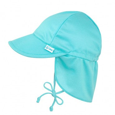 i Play Breathable Solid Flap Infant Baby Sun Protection & Swim Hat Aqua Blue Light