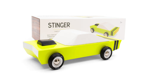 Candylab Toys Solid Beech Wood Modern Vintage Stinger Car muscle yellow black white