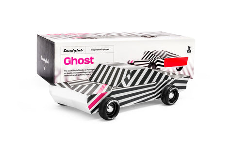 Candylab Toys Solid Beech Wood Modern Vintage Limited Edition Ghost car black white pint striped