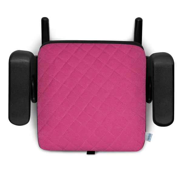 Clek Olli Child Safety Booster Car Seat flamingo x pink criss cross stitching
