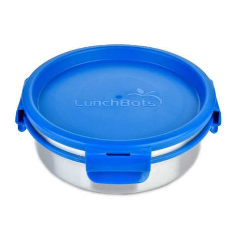 lunchbots reusable eco-friendly clicks 3 cups leak-proof stainless steel food container dishwasher safe convenient blue
