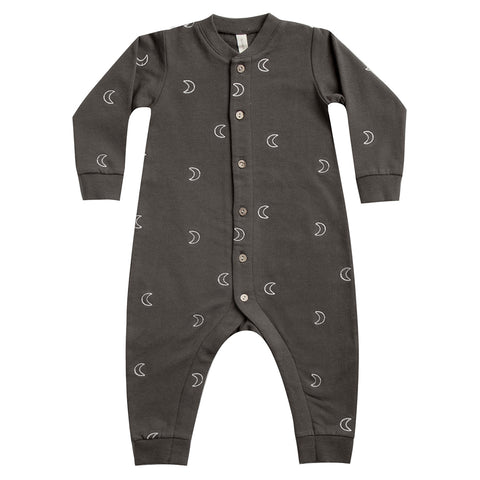 Quincy Mae Organic Cotton & Thermal Fleece Infant Baby Jumpsuits coal grey black