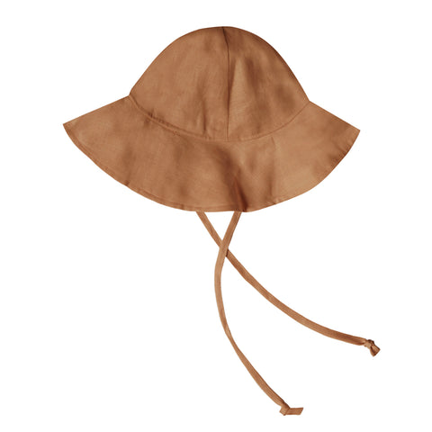 Rylee + Cru Floppy Sun Hat Infant Baby Sun Protection Accessory bronze linen burnt orange