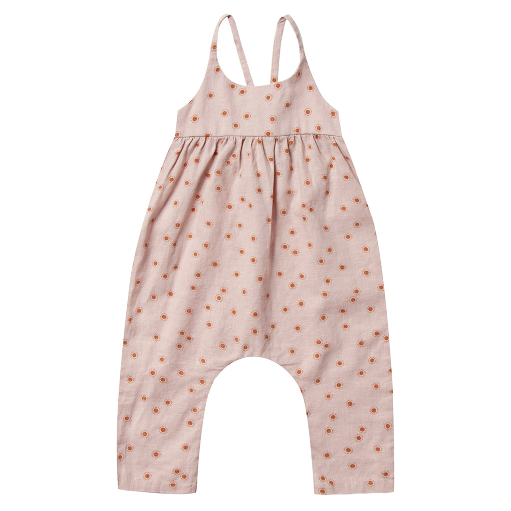 Rylee + Cru Gigi Jumpsuit Infant Baby One-Piece Clothing Apparel sunburst pink red neutral criss cross straps