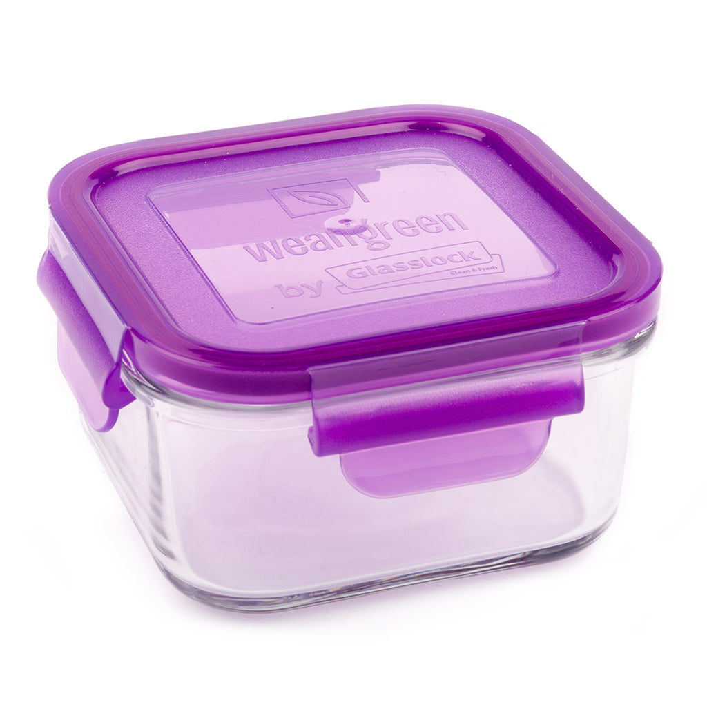 Wean Green Grape Lunch Cube Reusable Glass Food Storage Container purple