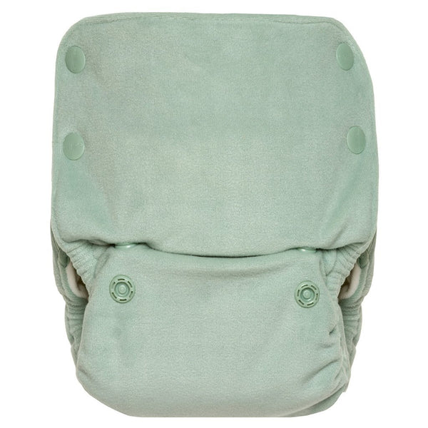 GroVia Buttah Plush Velour All-In-One Reusable Baby Cloth Diaper glacier green