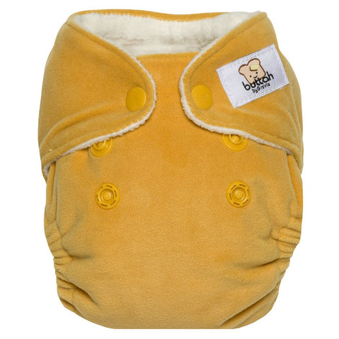 GroVia Buttah Velour Newborn All-In-One Reusable Cloth Baby Diaper yarrow yellow