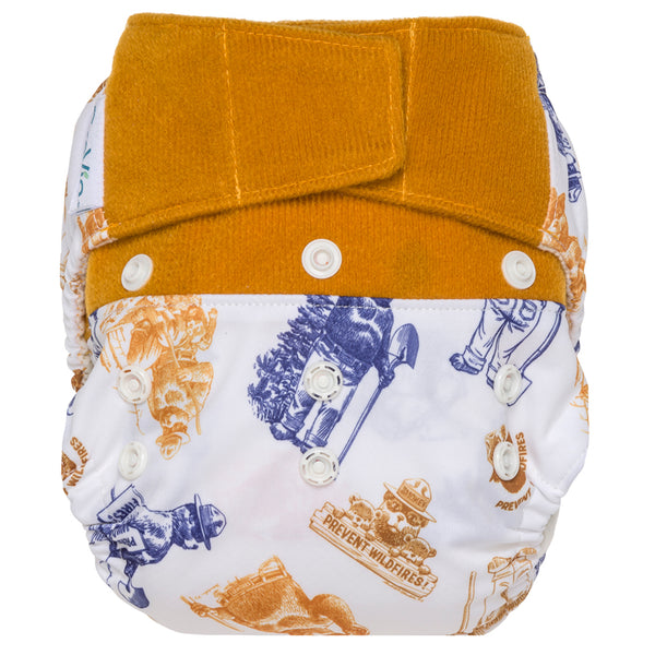 GroVia Hybrid Cloth Baby Diaper Hook & Loop Shell only you  smokey the bear