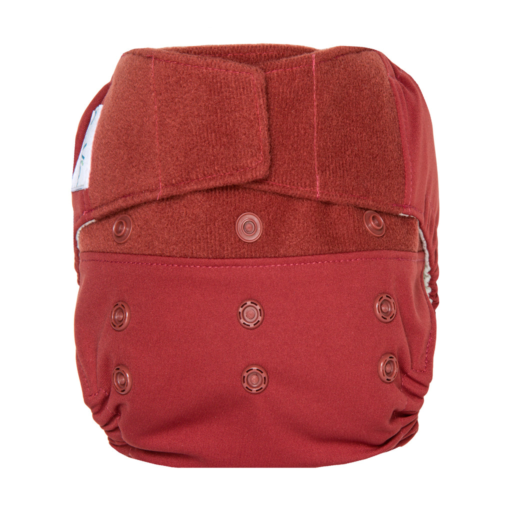 GroVia Hybrid Cloth Baby Diaper Hook & Loop Shell marsala red