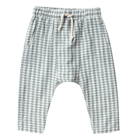 Rylee + Cru Hawthorne Trouser Pants Infant Baby Clothing Bottoms gingham green checkered beige neutral