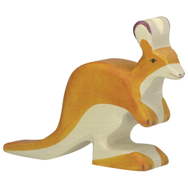 Holztiger Wooden Safari Animals Children's Toys small kangaroo orange natural