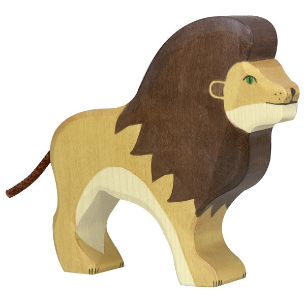 Holztiger Wooden Safari Animals Children's Toys adult male lion mane