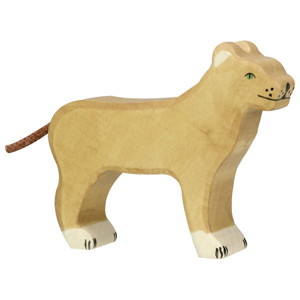 holztiger natural wooden childrens toy safari animal lioness orange