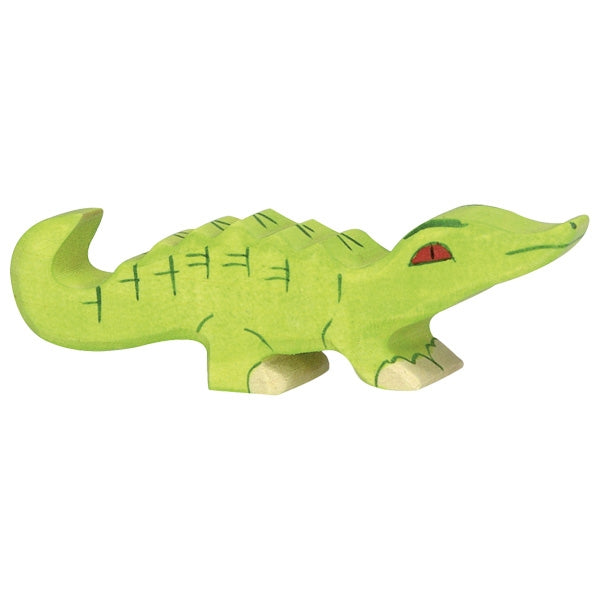 holztiger natural wooden childrens toy safari animal small crocodile green