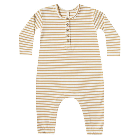 Quincy Mae Organic Cotton Infant Baby Long Sleeve Jumpsuit One-Piece honey stripe yellow brown white