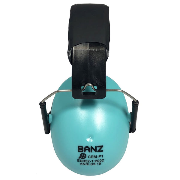 Banz Hearing Protection Earmuffs kid sized lagoon turquoise blue light