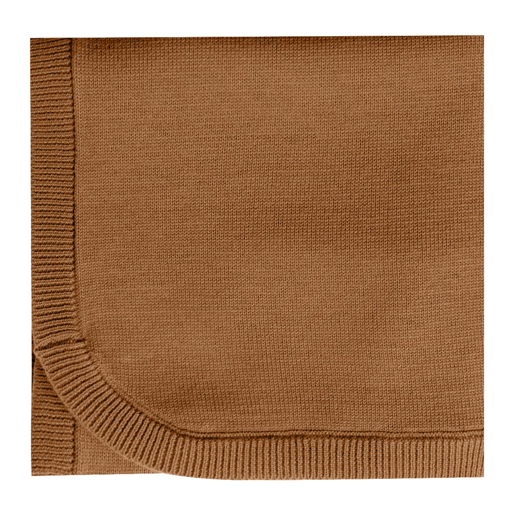 Quincy Mae Knit Baby Blanket Organic Cotton walnut brown orange dark