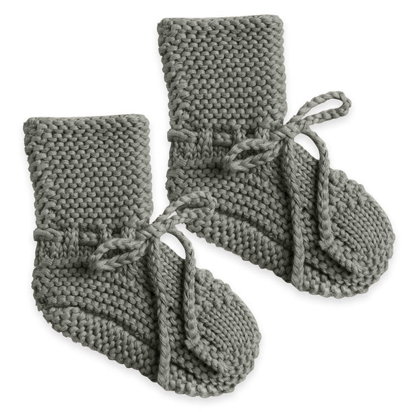 Quincy Mae Knit Booties Organic Cotton Baby Shoes Clothing Accessory eucalyptus dark green