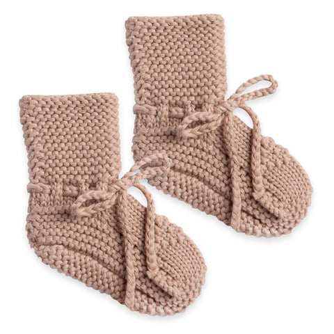 Quincy Mae Knit Booties Organic Cotton Baby Shoes Clothing Accessory petal blush pink