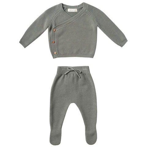 Quincy Mae Knit Kimono Top + Pant Set Organic Cotton Baby Clothing Set eucalyptus dark green wood buttons