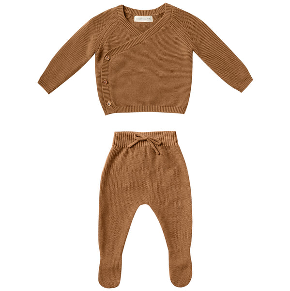 Quincy Mae Knit Kimono Top + Pant Set Organic Cotton Baby Clothing Set walnut brown wood buttons