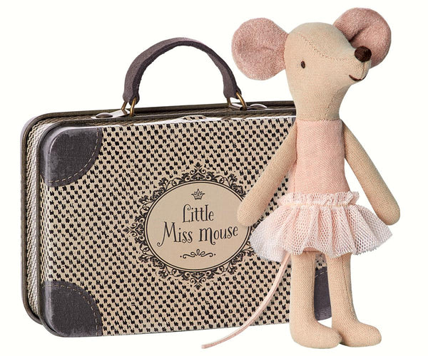maileg mouse in a suitcase little miss mouse ballerina big sister