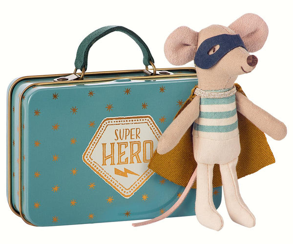 maileg mouse in a suitcase superhero big brother