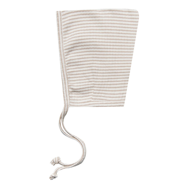 Quincy Mae 100% Organic Cotton Ribbed Infant Baby Pixie Bonnet Hat fog stripe light grey white