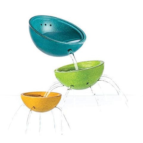 PlanToys Wooden Fountain Bowl Set ecofriendly sustainable wooden rubber wood 3 sizes blue green yellow