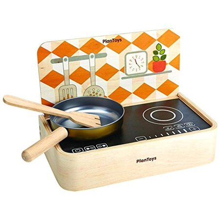 plantoys natural rubber wood portable kitchen set frying pan spatula