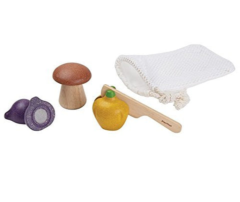 plantoys natural wooden veggie and knife set pretend play mushroom bell pepper shallot