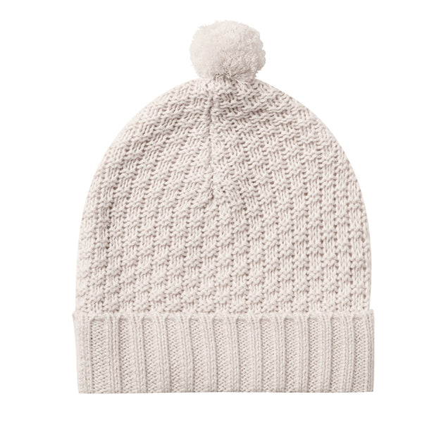 Quincy Mae Knit Pompom Beanie Infant Baby Organic Cotton Hat Accessory pebble white