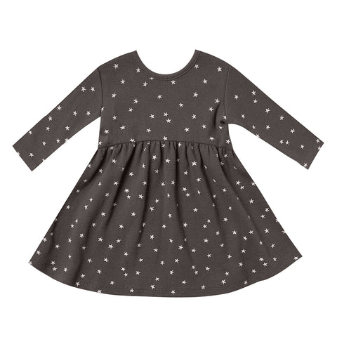 Quincy Mae 100% Organic Cotton Infant Baby Long Sleeve Ribbed Dress coal grey black
