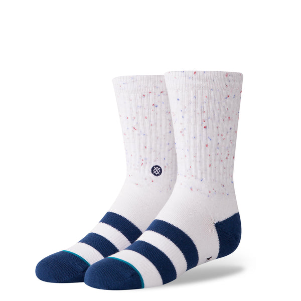 Stance Classic Toddler Boys Socks pattern vibe white navy stripe toe heel