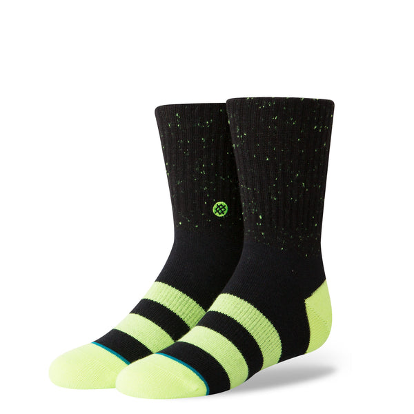 Stance Classic Toddler Boys Socks pattern vibe black high visibility yellow stripe toe heel