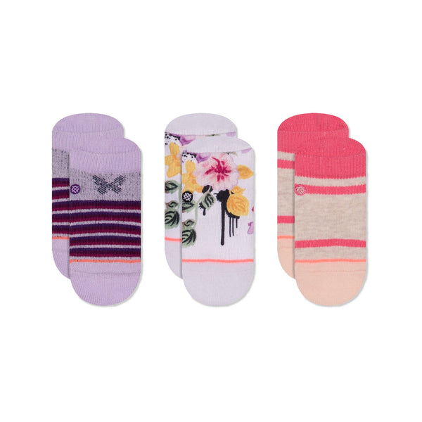 Stance Infant Baby Girls Sock Box Set pattern 3 pack just dandy floral stripe butterfly ping purple