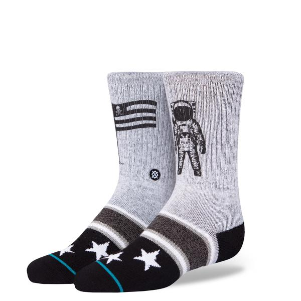 Stance Classic Toddler Boys Socks pattern landed space man flag stars grey black